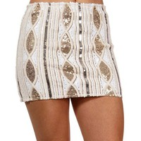 White/Gold Sequin Mini Skirt