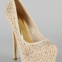 Gigi Jeweled Almond Toe Platform Pump
