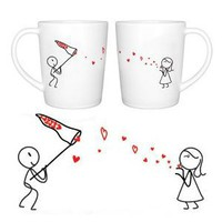 "BoldLoft ""Catch My Love"" Couple Coffee Mug Set-Cute Valentines Gifts,Valentines Pillowcases,Valentines Day Romantic Gifts,Unique Valentines Day Gifts: Kitchen & Dining"