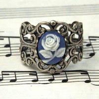 Blue Rose Filigree Ring - $17.00 : RagTraderVintage.com, Handmade Indie Retro Accessories