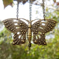 Brass Butterfly Necklace - $17.00 : RagTraderVintage.com