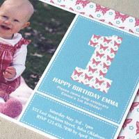 First Birthday Invitation Butterfly Invitation by EllisonReed