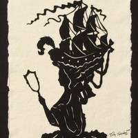 Marie Antoinette HandCut Silhouette Papercut by tinatarnoff