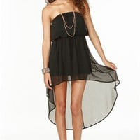 A'GACI Chiffon Hi Lo Tube Dress - DRESSES