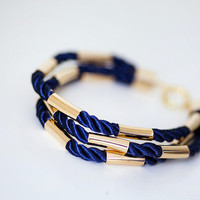 Dark blue Nautical style Cord Bracelet with golden tubes by pardes