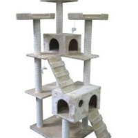 "Amazon.com: Beige 73"" Cat Tree Pet House: Pet Supplies"