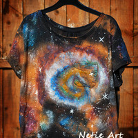 Hand painted galaxy nebula space universe stars oversized top t shirt