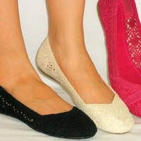 Super Soft *Lacy Woven Crochet* Comfy Ballet Flats*Breathable Fabric Lining*