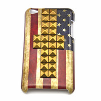 iPod touch 4 hand Case Cover with cross bronze pyramoid stud for apple ipod touch 4 hard Case, ipod touch 4 case  c 11