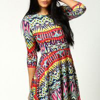 Jessica Geo Print Long Sleeve Skater Dress