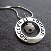 Soccer Necklace  Silver Soccer Charm Necklace by SilveradoJewelry