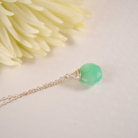 Necklace Green Chrysoprase Sterling Silver by BelleReveDesigns