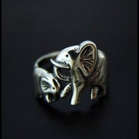 Baby &amp; Mama Elephants Ring High Quality by SilverJewelryShop