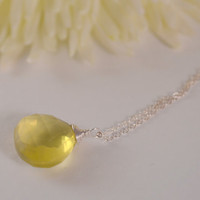 Necklace Lemon Quartz and Sterling Silver by BelleReveDesigns