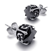 Titanium Steel Black CZ Studs