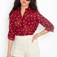 Darcy Dot Blouse - Wine in Clothes at Nasty Gal