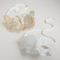 White and Gold Die-Cut Masks, Set of 2