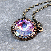 Swarovski Crystal Necklace - Crown Victorian - Lavender Light Rainbow and Antiqued Brass Pendant