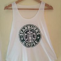 STARBUCKS Print Tank Vest T Shirts Top Ladies Womens Girls LOVELY STARBUCKS TOP