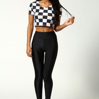Emma Mono All Over Square Print Crop Top