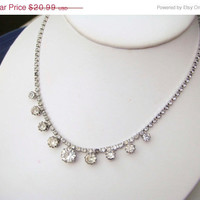 On Sale Vintage 1940s Large Rhinestone Necklace Mad Men Style