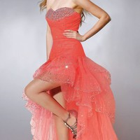 Sweetheart Neck Beaded Orange Tulle High Low Prom Dress ISD385 [ISD385] - 198.00
