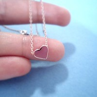Valentine Pink Heart, Rose Gold Plated, Necklace