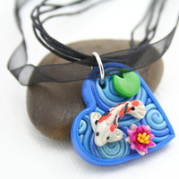 Heart Pendant with Koi Pond in Polymer Clay by StarlessClay