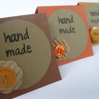 Mini Cards Autumn Hand Made Embellished Cards by TwoPaperAddicts