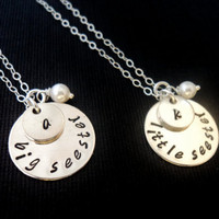 Big Little Sister Charm Necklace, Set of Two Personalized Handstamped, Gift, cyber monday etsy