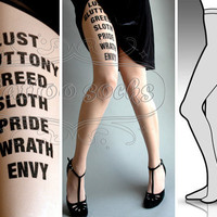 Large/Extra Large 7 Deadly Sins tights / stockings by tattoosocks