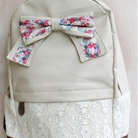 Fashion Griege Backpack with Red Floral Bow Lace