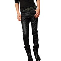 Allegra K Mens Stylish Zip Fly Button Closure Faux Leather Splice Front Casual Pants Black W33