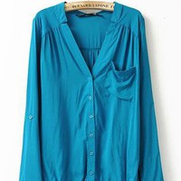 Blue V-neck Pocket Elastic-Hem Blouse S009912