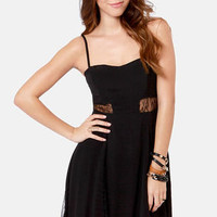 By the Lace-Sides Black Lace Dress