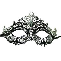 Venetian Masquerade Laser-Cut Details Black Crown Design Costume Mask
