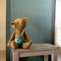 Pattern to create Teddy like Bear Mitya with paints turquoise Boy on bench Beige gold honey