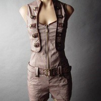 Steampunk Military Tomb Raider Mechanic Engineer Top Belted Short Suit Romper M