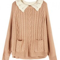 Pink Cable Knitted Jumper with Contrast Crocheted Collar