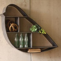 metal bird shelf raw finish | metal bird cubby