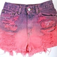 "Blu Blush:   ""A place for custom made plus size high waisted shorts"" — Distressed Ombre Pink High Waisted Shorts"