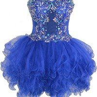 Zeilei Strapless Sweet 16 See Through Waist Baby Doll Homecoming Dress