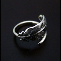 Feather Ring High Quality by SilverJewelryShop on Etsy