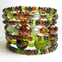Memory Wire Bracelet Forest Green and Brown Stacking Beaded Wrap Bracelet