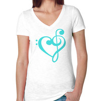 Music Heart Treble Bass Clef Slub Vneck Tee