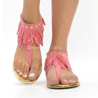 Pink Coral Fringe Ankle ...