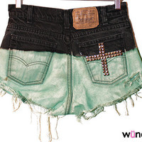 The Magdalene Shorts (Black to mint ombre, with cross on back pocket)