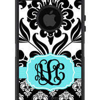 OTTERBOX DEFENDER iPhone 5 4/4s Case Custom Two Tone Black Damask Teal Frame Pattern  - 3 Letter Monogram Personalized
