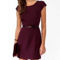 Pleated Sleeve Dress w/ Belt