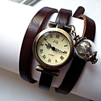 Wrap Watch with Real Dandelion - working bronze wrist watch, genuine leather with real dandelion seeds in glass orb charm